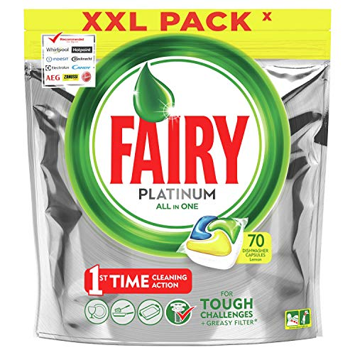 Fairy Platinum Tutto in Uno Detersivo Capsule Lavastoviglie, 70 Pastiglie, Limone, Rimuove Persino il Grasso Incrostato
