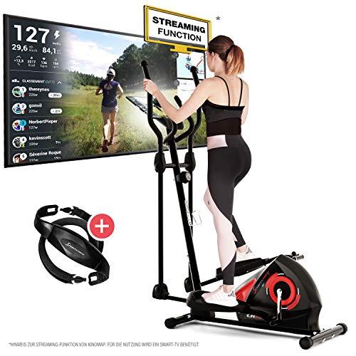 Sportstech CX608 Crosstrainer - Deutsche Qualitätsmarke - Video Events & Multiplayer APP & Bluetooth kompatibler Konsole, inklusive Pulsgurt, Ellipsentrainer, Tablet-Halterung-Ergometer