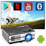 Portable Mini Video Projector 1080p Supported WiFi Bluetooth Wireless Smart Projector with Speakers Home Theater LED Projector 120inch for iPhone/Laptop/Outside/Garden/Outdoor/Indoor Entertainment