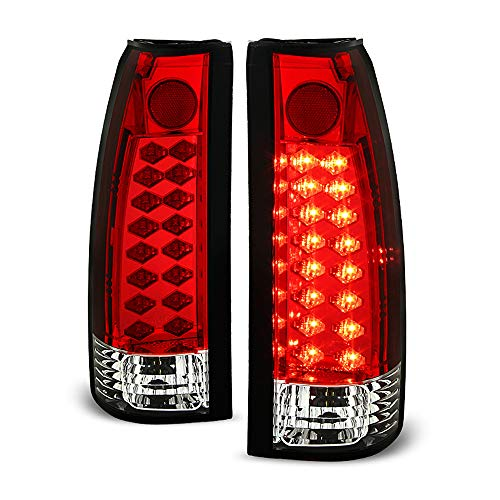 ACANII - For 1988-1998 Chevy Silverado GMC Sierra Suburban Tahoe Red Clear Lumileds LED Tail Lights Lamps Left+Right