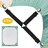 Nanateer Bed Sheet Fasteners, Triangle Sheet Straps Elastic Mattress Clips, 3 Way Fitted Bed Corner Holder Sheet Suspenders Grippers Heavy Duty for Bedding Sheets, Mattress Covers, Sofa Cushion (4PCS)