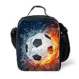 LedBack - Bolsa de almuerzo con impresión 3D de fútbol para niños y niñas, con aislamiento, con correa ajustable, bolsa de refrigeración, mochila portátil y bolsa para lápices