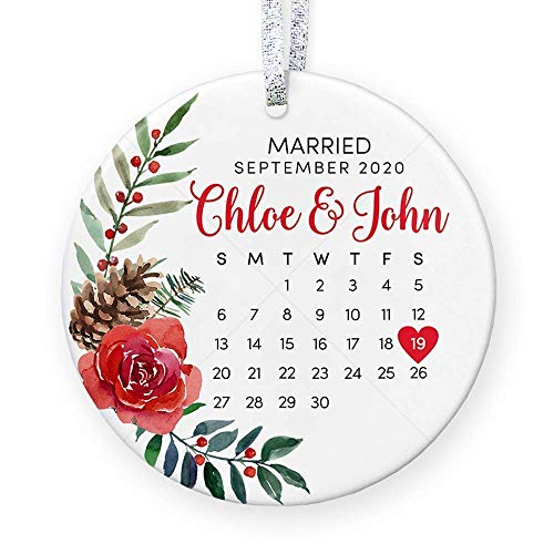 Floral Personalized Wedding Gift with Date for Newly Married...
