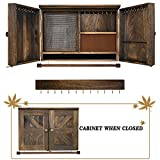 GLANT Rustic Wall Mounted Jewelry Organizer with Wooden Barndoor Decor,Wooden Wall Mount Holder,Jewelry holder for Necklaces, Earings, Bracelets, Ring Holder. Includes matching hook organizer (Rustic)