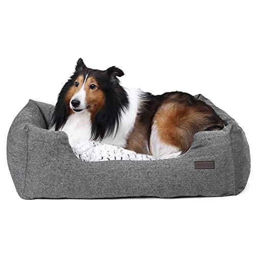 FEANDREA Hundebett, Hundekorb mit Wendekissen, Hundesofa, Hundematte, gemütlich, atmungsaktiv, rutschfest, erhöhter Rand, 80 x 60 x 26 cm, für Hunde bis 15 kg, grau meliert PGW26G
