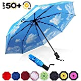 ABCCANOPY Umbrella Compact Rain&Wind Teflon Repellent Umbrellas Sun Protection with Black Glue Anti UV Coating Travel Auto Folding Umbrella, Blocking UV 99.98%,Blue Sky