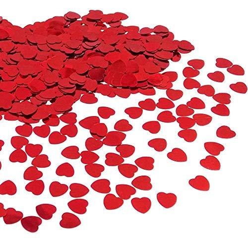 JZK 5000 pz 1cm Scintillante plastica coriandoli Cuore Rossi Cuoricini Decorazione Tavolo per Matrimonio Compleanno San Valentino Battesimo Addio al Nubilato