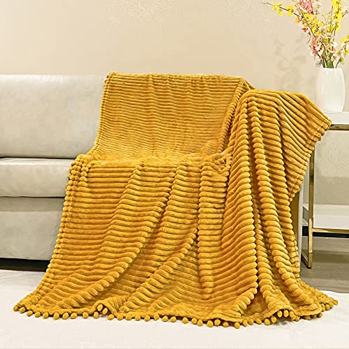 NAISI Flannel Throw Blanket with Pom Pom Fringe and Super Soft Stripe Pattern Lightweight Cozy Fleece Blanket Perfect for Bed Couch Sofa (Mustard Yellow, 51'x 63')