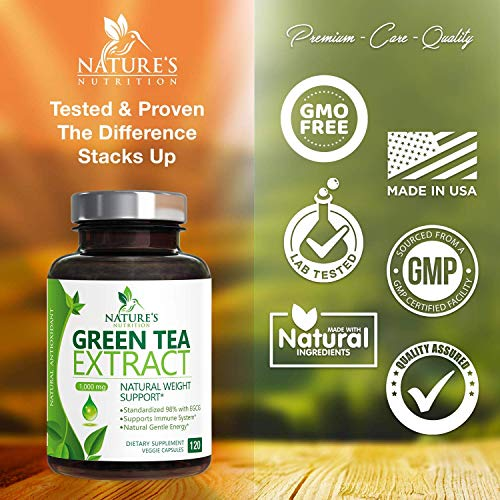 Green Tea Extract 98% Standardized EGCG Weight Loss 1000mg - Boost Metabolism for Healthy Heart - Antioxidants & Polyphenols - Gentle Caffeine, Fat Burner Pills, Made in USA - 120 Capsules 6