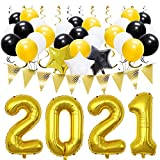 Meiduo Balck Gold 2021 Graduation Decorations, Hanging Swirls, Latex Balloons, Star Foil Balloons, Pennant Flag for New Years Eve Prom Anniversary Party Birthday Back to School Supplies, 46PCS