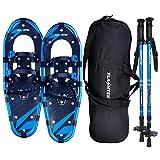 FLASHTEK 21/25/30 Inches Snowshoes for Men and Women, Light Weight Aluminum Terrain Snow Shoes (Blue, 25')