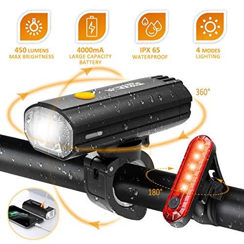 WOTEK Luci Bicicletta LED Luce Bici Set Fanalini Anteriori e Posteriori Bicicletta Fanale Bici MTB per Strada e Montagna Funziona Come Power Bank 4000mAh 450LM Ricaricabile USB Sicurezza per Notte