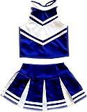 Little Girls' Cheerleader Cheerleading Outfit Uniform Costume Cosplay Blue/White (M /5-8)
