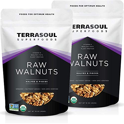 Terrasoul Superfoods Organic Raw Walnuts, 2 Lbs (2 Pack) - Chandler Variety | Fresh | Light Color