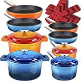 Dealz Frenzy Enamel Cast Iron Pots and Pans Set, Non-Stick Induction Cookware Set, Stainless Handles, Dishwasher Safe, Oven Safe, Germany Professional Durable Multilayer Stone Coating,Orange and Blue