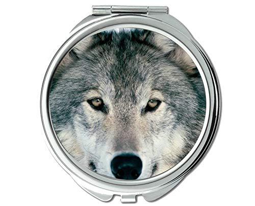 Specchio, Specchio rotondo, Specchietto tascabile per animali con lupo, 1 ingrandimento X 2X