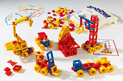 Mobilo Construction Kit I, Plastic Three Dimensional Builders with Activity Cars, STEM Approved Educational Learning Toy, 192 Piece Set