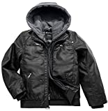 Wantdo Boy's Spring Faux Leather Motorcycle Coat Biker Jacket with Hood Black US 8