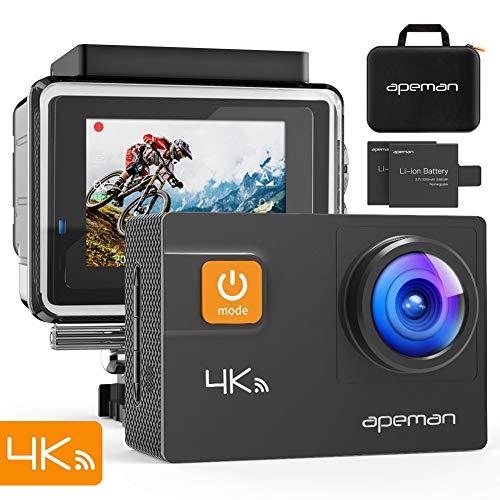 APEMAN Action Cam A80, 4K 20MP WiFi Impermeabile 40M Fotocamera Subacquea Digitale Videocamera, Custodia per Trasporto con Due Batterie