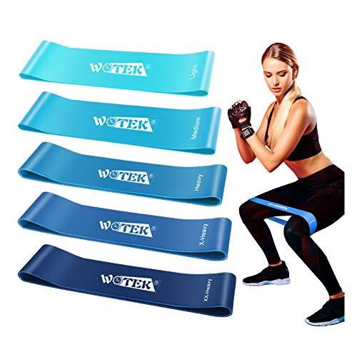 WOTEK Elastici Fitness Bande Elastiche Fitness - Fasce Elastiche di Resistenza di Lattice Naturale 5 Livelli di Resistenza - per Crossfit, Yoga, Pilates, Allenamento di Forza e Riabilitazione Fisico