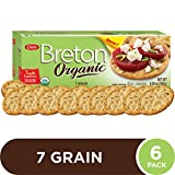 Breton Organic 7-Grain Crackers –Whole Grains and Seeds– Certified Organic, No Artificial Colors or Flavors - Delicious Plain or Topped, 5.29 oz boxes (Pack of 6)