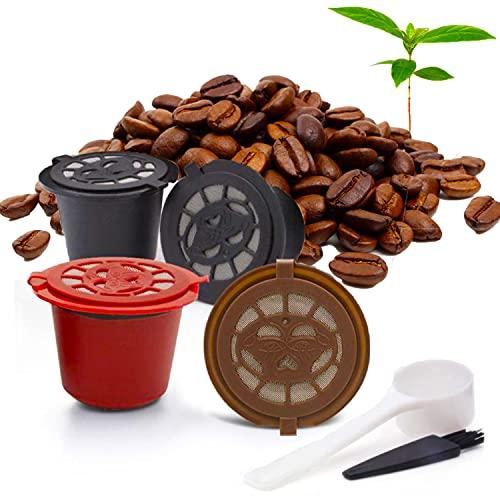 Ducomi Set 4 Capsule Ricaricabili, Riutilizzabili - Compatibili Nespresso con Spazzolino per Pulizia e Misurino Inclusi - Cialda Ricaricabile, Riutilizzabile Facile da Pulire e di Lunga Durata