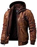 FLAVOR Veste en Cuir véritable - Homme à Capuche (XXXL, Marron)