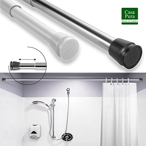 casa pura Tension Shower Rod | Classic Polished Chrome Adjustable Shower Curtain Rod | Chrome - 28 to 48 Inch