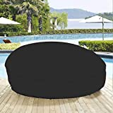 75' Heavy Duty 420D Waterproof Daybed Cover Outdoor Round Canopy Day Bed Sofa Cover Patio Furniture Cover UV Weather Resistant Black
