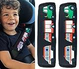 HECKBO 2 x protège-ceintures, voiture, motif voiture de pompier, tracteur, ambulance - pour enfants garçon, garçons, ceinture de sécurité, coussin épaule, siège enfants voiture, siege enfants vélo