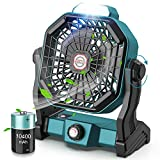 CONBOLA Portable Battery Operated Fan with LED Lantern, 10400mAh Outdoor Small Rechargeable Quiet Camping Fan, Personal Desk Fan Cooling Table Fan with Hanging Hook for Tent,Bedroom, Office(Green)