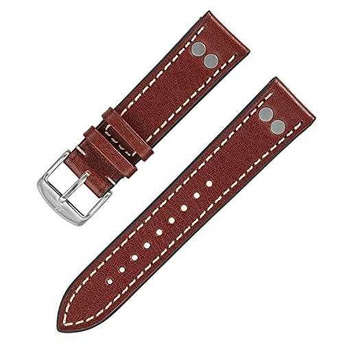 Laco Fliegeruhren Lederband – XL 20 mm – 20,5 cm lang – Nieten – Ersatzband – Einzigartige Qualität – Herausragende Verarbeitung