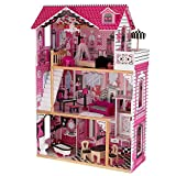 KidKraft Amelia Wooden Dollhouse with Elevator, Balcony and 15-Piece Accessories, Pink, Gift for Ages 3+ (Toy)