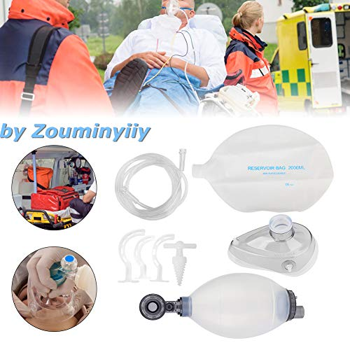 Zouminy Ambu Bag, Silica Gel Adult Manual Respirator, Simple Breathing Apparatus Resuscitator Ambu Bag First Aid Kit Tool First Aid Training