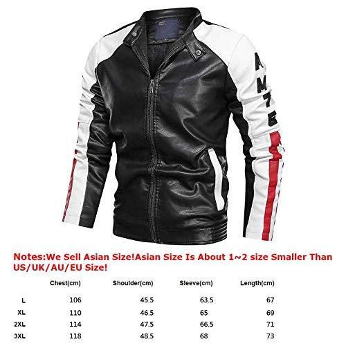 Hombre Chaqueta Hombre Chaquetas Cuero Sintético Casual y Jersey acolchonado con Capucha Abrigo cálido, L- 3XL (crjak028),Black,XL