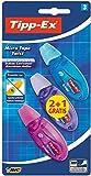Tipp-Ex Micro Tape Twist Cinta Correctora Blanca 8 m x 5 mm – Colores Surtidos, Blíster de 2+1 Unidades, Con Cabezal Rotativo Para Proteger La Punta