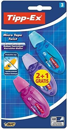 Tipp-Ex Cinta Correctora de Bolígrafos, Óptimo para material escolar,Micro Tape Twist, 8m x 5mm, Con Cabezal Rotativo, Blíster de 3