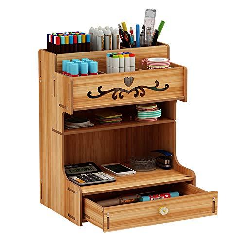 Ampio organizer da scrivania in legno per cassetti, cancelleria, scrivania, portapenne per casa,...