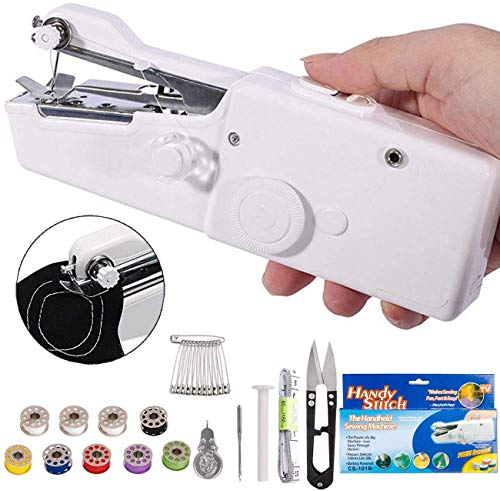 DUTISON Mini Macchina da Cucire Portatile Handheld Cordless Strumento di Cucitura Rapida per...