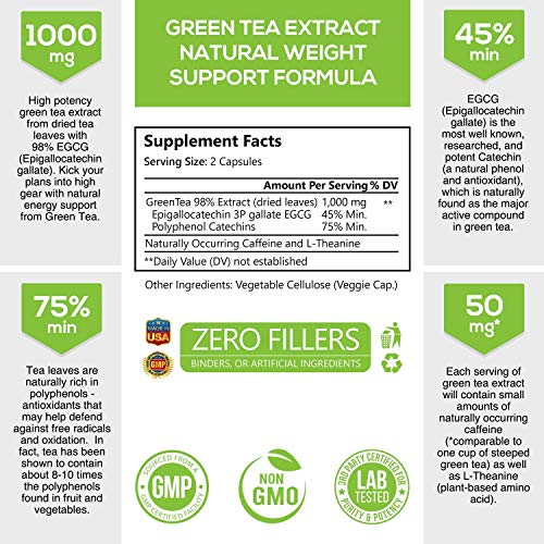 Green Tea Extract 98% Standardized EGCG Weight Loss 1000mg - Boost Metabolism for Healthy Heart - Antioxidants & Polyphenols - Gentle Caffeine, Fat Burner Pills, Made in USA - 120 Capsules 3