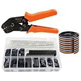 WayinTop Dupont Connector Crimping Tool Kit Crimper Plier 2.54mm Header Male Female Crimp Pins Terminals Housing 1 2 3 4 5 6 8 10 Pin and 40pin 1.27mm Ribbon Cable FC/IDC Jumper Wire 1M (Crimping Set)