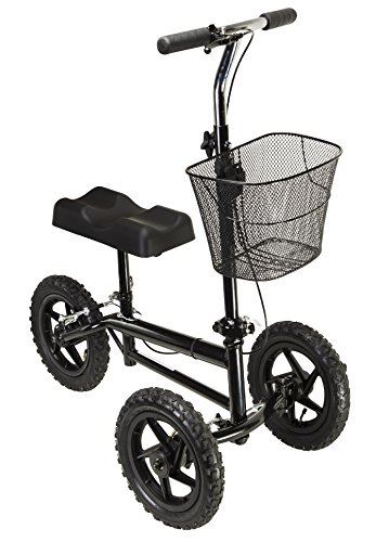 Azoob All Terrain Steerable Knee Walker Knee Scooter Crutches Alternative Super Duty 12' Pneumatic Wheels