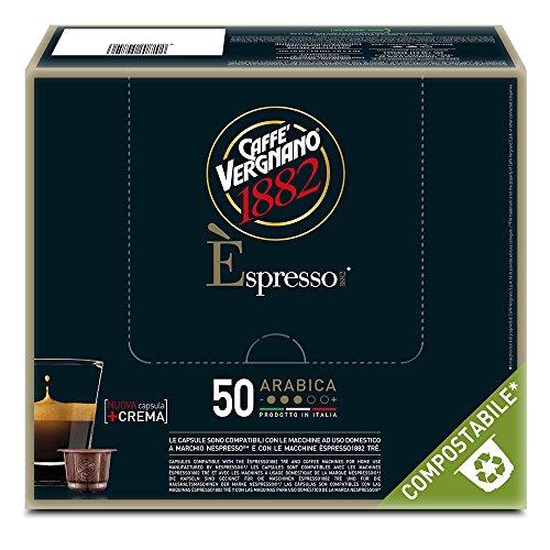 Caffè Vergnano 1882 Èspresso Capsule Caffè Compatibili Nespresso Compostabili, Arabica- Pack da 50 capsule