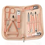 Nail Clippers and Beauty Tool Portable Set, Rose Gold Martensitic Stainless Steel Manicure Set 12 in 1, with Pink Leather Bag, Suitable for Home, Workplace, Outdoor Travel, Gift Giving, Beauty Salon.