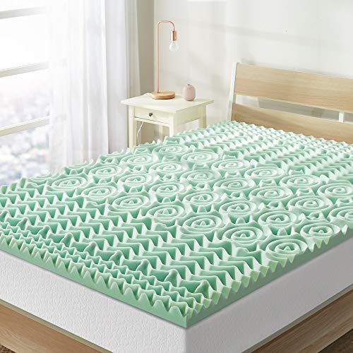 Best Price Mattress Twin XL Mattress Topper - 1.5 Inch 5-Zone Memory Foam Bed Topper Aloe Infused Cooling Mattress Pad, Twin XL Size
