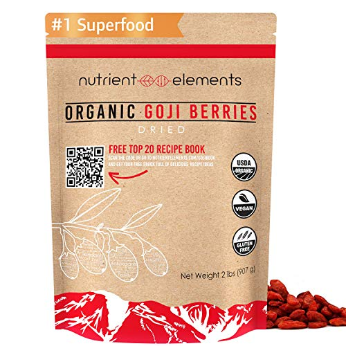 2 lbs/32oz Premium Organic, Raw & Dried Goji Berries - USDA Certified - (907g) - Natural Superfood - Extra Large, Non GMO Berries with Resealable Bag by Nutrient Elements - Free Recipes E-Book
