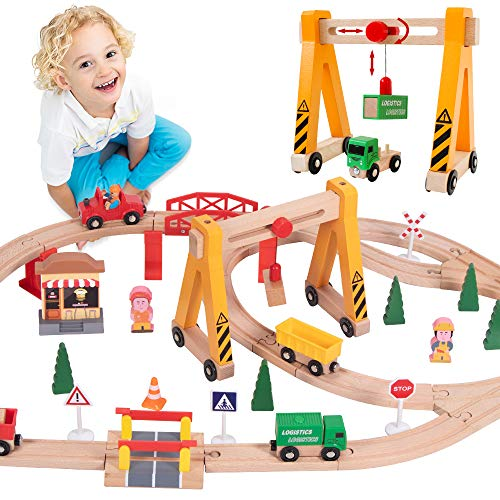 Lebze Wooden Toy Train Set - 55 Pieces Wooden Track & Exclusive Crane & Trains for 3+ Years Old Girls & Boys - Toy Railway Kits Fits Thomas, Chuggington, Melissa - Kids Toddlers Building Toys
