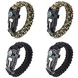 4 Pièces Bracelet de Survie Réglable, Bracelets D'extérieur 5 en 1 avec...