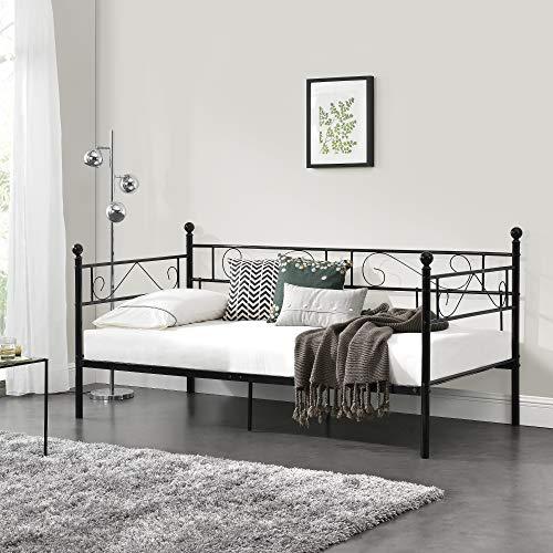 [en.casa] Divano Letto Metallo 200 x 90 cm Sofa Singolo Design Incluso Rete a Doghe Nero