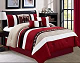 Luxury 7 Piece Bed in Bag Comforter Set - Oversized (Queen, Burgundy)